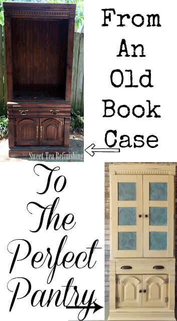 Create a Pantry with Character from an old Bookcase! #Storage #pantrystorage #storagecabinet #pantrystoragecabinet #pantryorganization #kitchepantrystorageideas #storageideas #howtobuildapantry