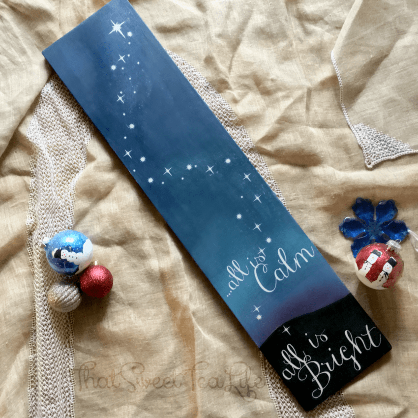 DIY Sign for Christmas with Blended Paint