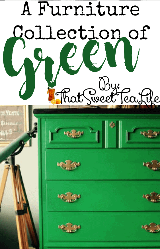 All the GREEN painted inspiration you need in one place! #GreenPaintedFurniture #SagePaintedFurniture #AmsterdamChalkPaint #EmeraldGreenPaintedFurniture #EmeraldGreenPaint