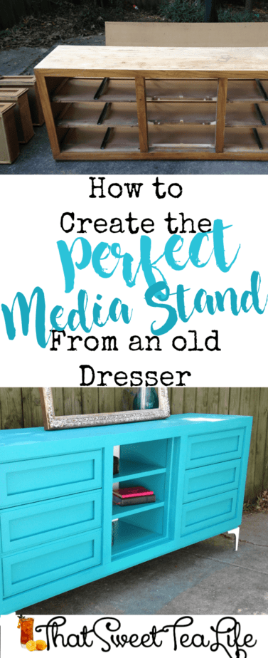 Create a media stand you love from an old dresser! Its so easy! All the dirty details are here! #dresserconversion #repurposedresser #Olddressersideas #howtoputashelfinadresser #convertdresserdrawerstodoors #howtorepurposeadresserwithoutdrawers #howtoturndresserdrawersintoshelves #howtoturnadresserintoabookcase #repurposeddressertvstand