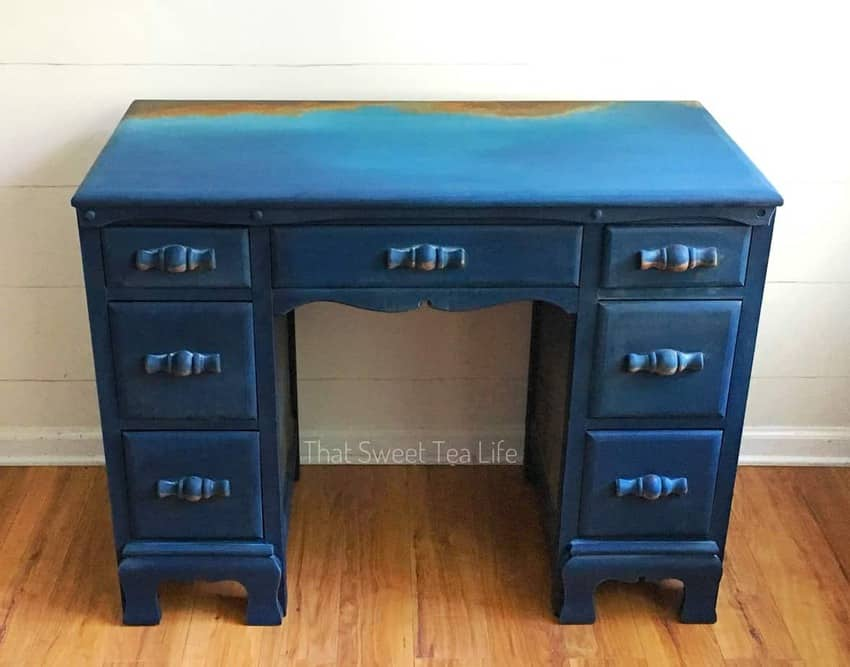 RUSTIC Paint rusty blue desk furniture Using my Wise Owl Chalk synthesis Paint and favorite Authentic Patina kit I created this OUT OF THIS WORLD Finish inspired by a rusty old blue Chevy #DIYRusticDecor #DIYRusticPaint #RusticPaintFinish #ThatSweetTeaLife #FauxFinish #furniturerestoration #furnituremakeover #upcycledfurniture #refurbished #handpainted via @thatsweettealife