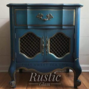 Learn How to Paint Furniture in the rustic glam finish like this end table