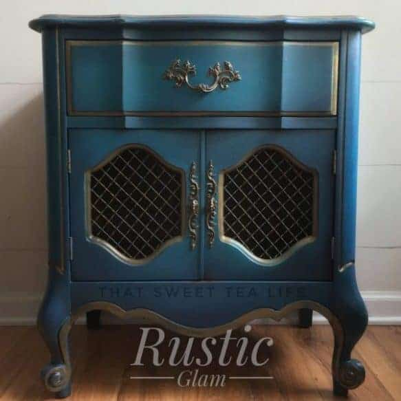 Turquoise rustic glam finish like this end table
