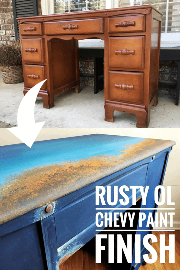 Using my Wise Owl Chalk synthesis Paint and favorite Authentic Patina kit I created this OUT OF THIS WORLD Finish inspired by a rusty old blue Chevy #DIYRusticDecor #DIYRusticPaint #RusticPaintFinish #ThatSweetTeaLife #FauxFinish #furniturerestoration #furnituremakeover #upcycledfurniture #refurbished #handpainted via @thatsweettealife