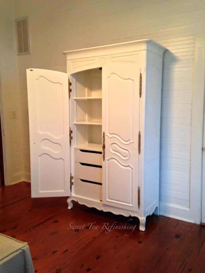 White Latex Painted armoire