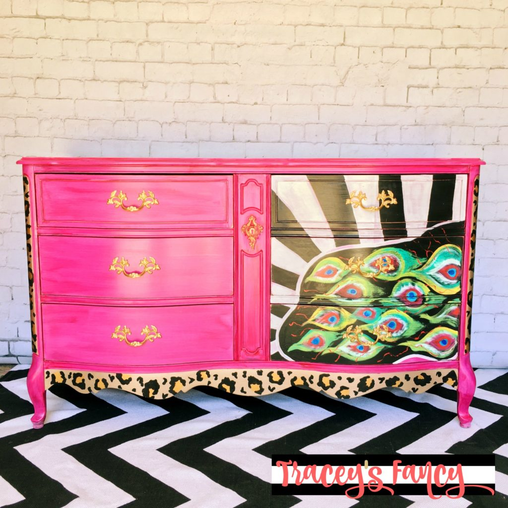 Pink and gold painted furniture-Peacock-Dresser Pink and Gold Painted Furniture Makeovers to get you inspired! #PinkPaintedFurniture #shabbychic #pale #girls #blush #rose #hotpink #blushpink via @thatsweettealife