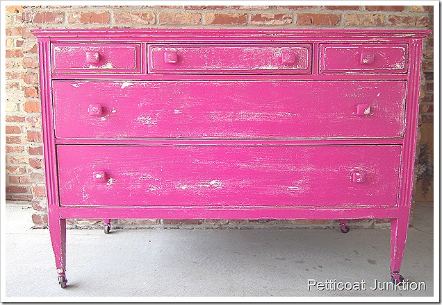 pink and gold painted furniture-bright pink dresser Pink and Gold Painted Furniture Makeovers to get you inspired! #PinkPaintedFurniture #shabbychic #pale #girls #blush #rose #hotpink #blushpink via @thatsweettealife