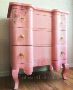 pink and gold painted furniture-left angle