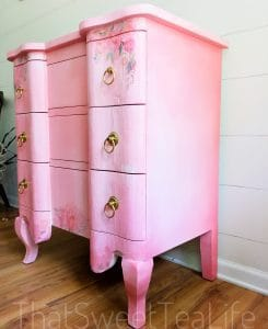 pink and gold painted furniture-right side