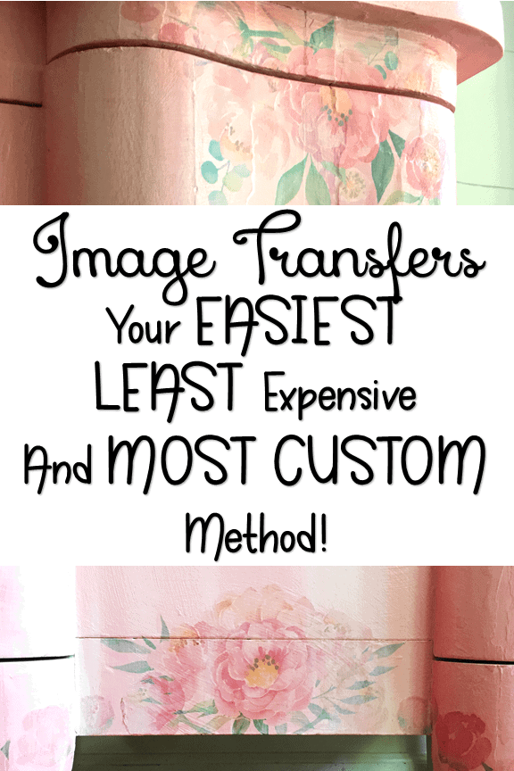 Image Transfers are FUN! But, can be tedious, expensive, and when you find one you love you can tend to see them EVERYwhere! Learn how to create CUSTOM ones you can apply in less than Five Minutes! #ImageTransfer #decoupage #paintedfurniture