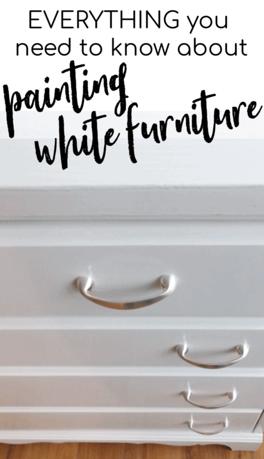 Painting White Furniture: The Best No Fail Method! How to do it with no brush marks, bleeding, yellowing, or fuss!  When beginning to paint furniture we soon get our first white furniture painting project.  We then find out that with white paint we have to be more particular.  #SprayingFurniture #FarmhouseFurniture #FarmhouseWhite #PaintingWhite #PaintingWhiteFurniture #NoBleed #NoYellowing #NoBrshMarks