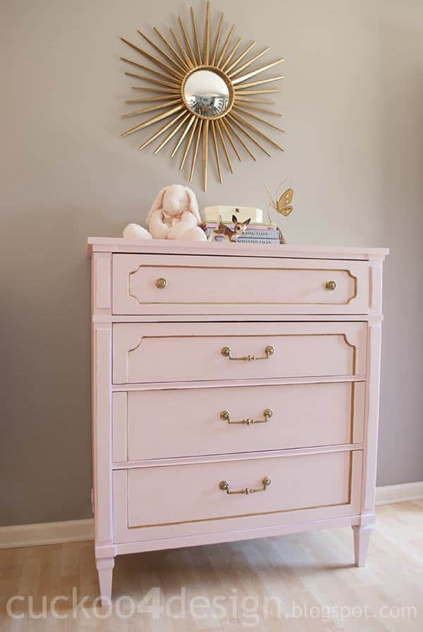 pink and gold painted furniture-blush chest Pink and Gold Painted Furniture Makeovers to get you inspired! #PinkPaintedFurniture #shabbychic #pale #girls #blush #rose #hotpink #blushpink via @thatsweettealife