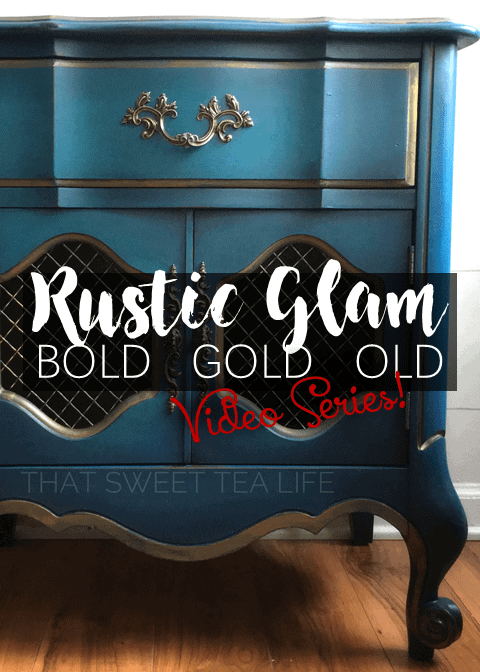 Rustic Glam Paint Side Getting the Look *Video Series* Take something Bold, add a little Gold and make it look a little old.. you've got Rustic Glam. Its gorgeous and you can create it too.. #GoldLeaf #GoldGilding #Gildingwax #Glazing #ColorWash #BlendingPaint #AntiqueWax
