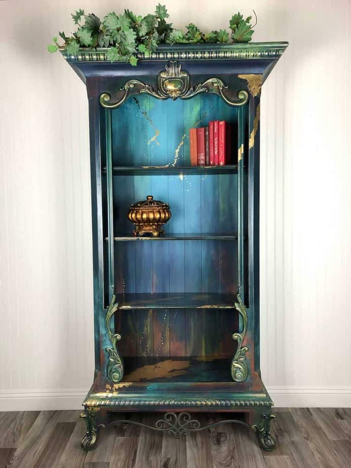 Teal Painted Bookcase