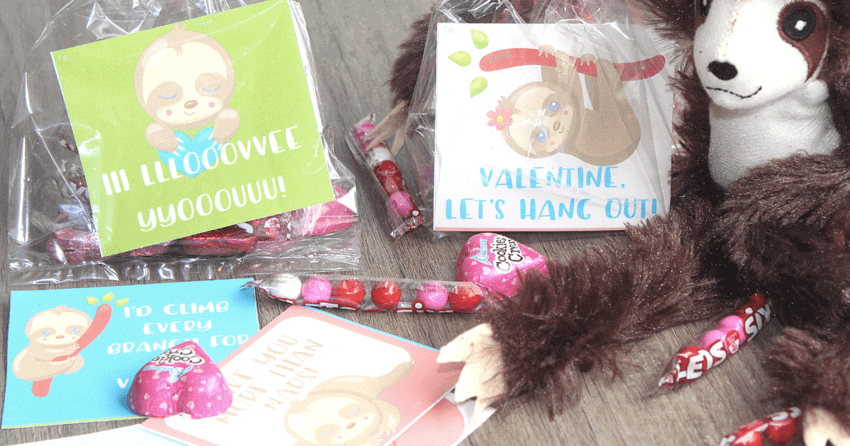 Adorable Printable Sloth Valentines