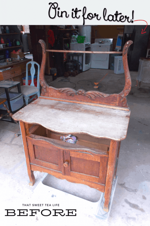 how to paint furniture -Before Antique Washstand makeover