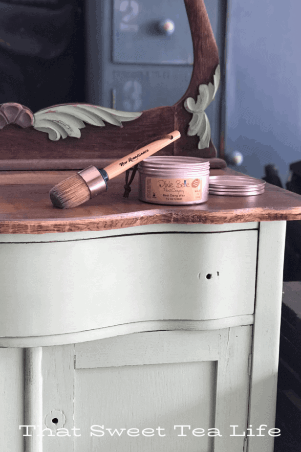 Using wax on an old antique wash stand  | Antique Wash Stand Makeover | furniture makeover | painted furniture | chalk painted furniture | green furniture | refurbished furniture | home decor | home decor ideas | painted dressers