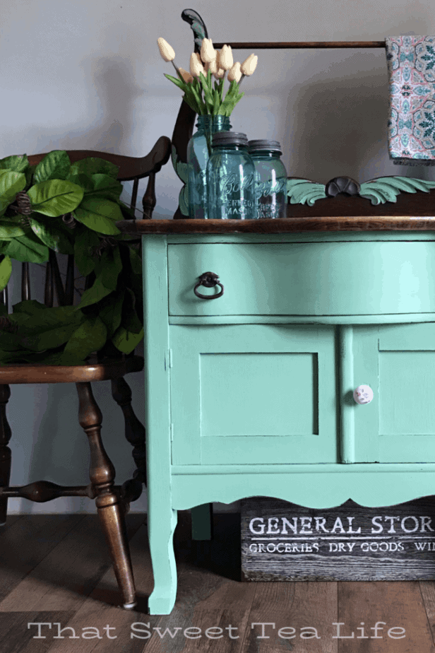 Dixie Belle Paint | Gorgeous furniture Makeover using Dixie Belle Mint Julep  | Antique Wash Stand Makeover | furniture makeover | painted furniture | chalk painted furniture | green furniture | refurbished furniture | home decor | home decor ideas | painted dressers