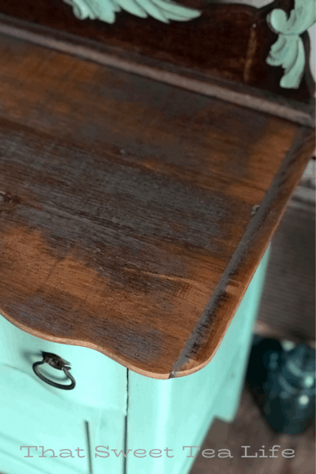 removing veneer for an awesome rustic look!  | Antique Wash Stand Makeover | furniture makeover | painted furniture | chalk painted furniture | green furniture | refurbished furniture | home decor | home decor ideas | painted dressers