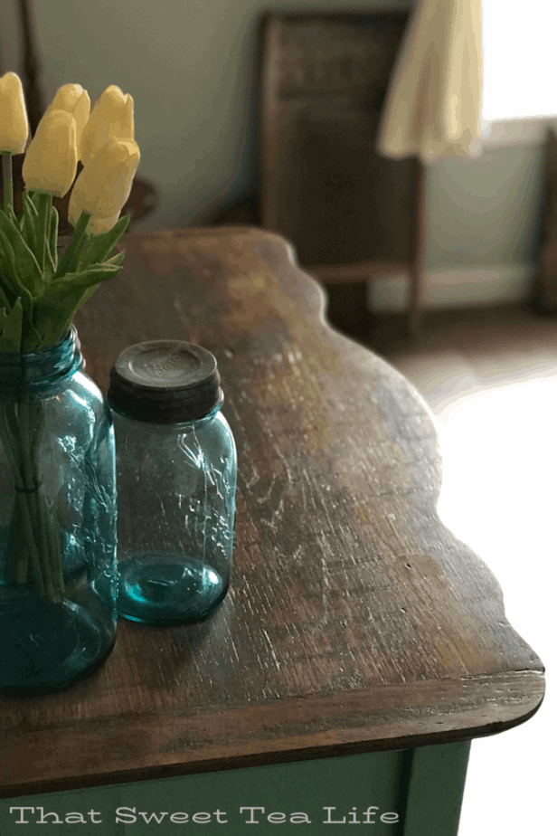 rustic finish on a solid wood top after removing veneer  | Antique Wash Stand Makeover | furniture makeover | painted furniture | chalk painted furniture | green furniture | refurbished furniture | home decor | home decor ideas | painted dressers