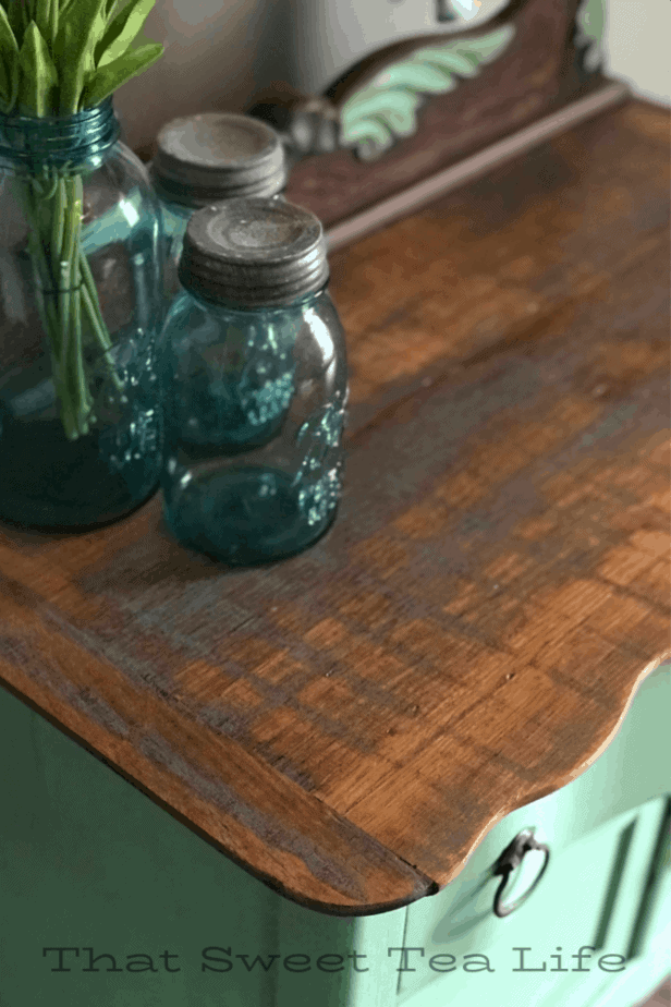 rustic paint finish on wood furniture  | Antique Wash Stand Makeover | furniture makeover | painted furniture | chalk painted furniture | green furniture | refurbished furniture | home decor | home decor ideas | painted dressers