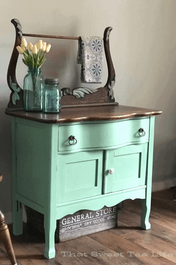 mint green painted furniture  | Antique Wash Stand Makeover | furniture makeover | painted furniture | chalk painted furniture | green furniture | refurbished furniture | home decor | home decor ideas | painted dressers