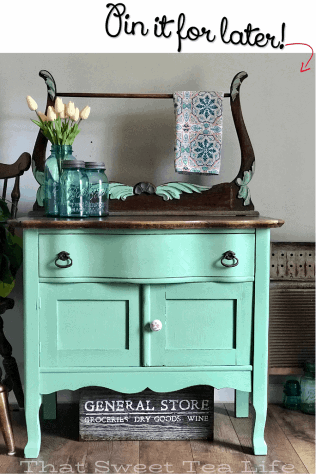 soft green painted dresser  | Antique Wash Stand Makeover | furniture makeover | painted furniture | chalk painted furniture | green furniture | refurbished furniture | home decor | home decor ideas | painted dressers