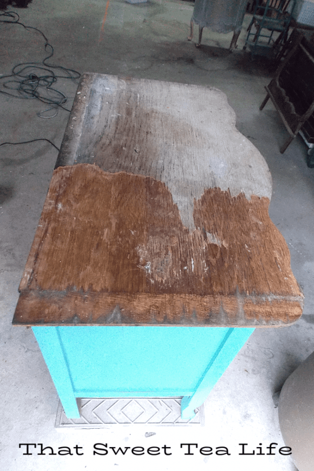 Before and after removing old veneer. Its easier than you think!  | Antique Wash Stand Makeover | furniture makeover | painted furniture | chalk painted furniture | green furniture | refurbished furniture | home decor | home decor ideas | painted dressers