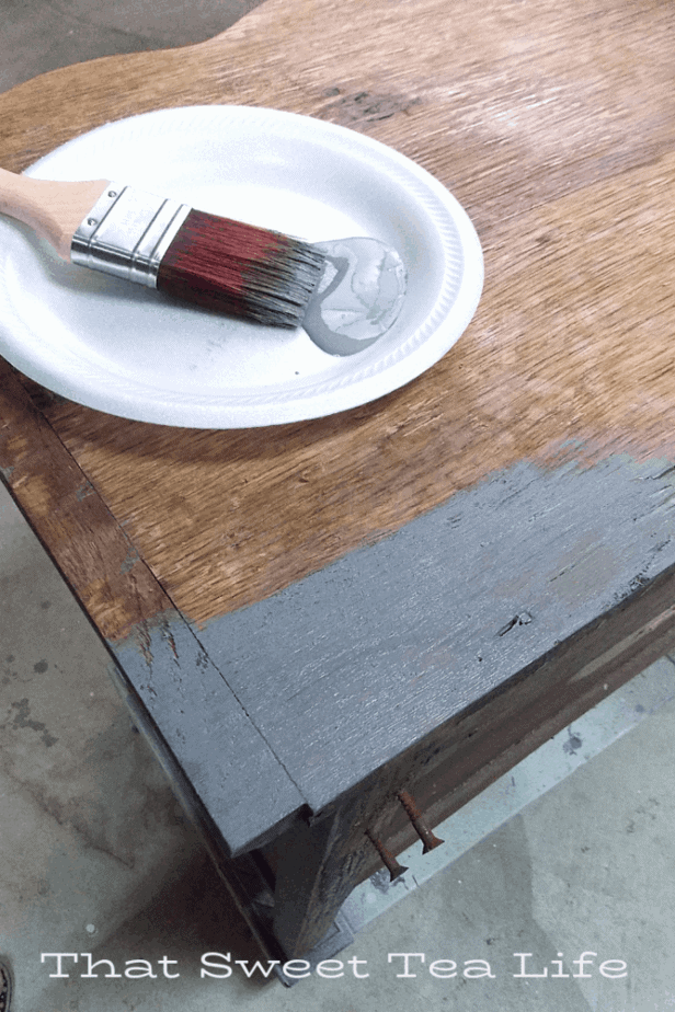 Dixie Belle Paints Voodoo gel stain on wood furniture for a driftwood style look! | voodoo gel stain | Antique Wash Stand Makeover | furniture makeover | painted furniture | chalk painted furniture | green furniture | refurbished furniture | home decor | home decor ideas | painted dressers
