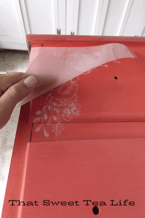 Coral Painted Dresser Makeover | How to add a Image Transfer
