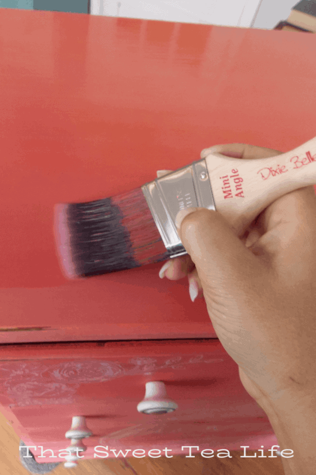 Coral Painted Dresser Makeover | Applying the protective Top Coat