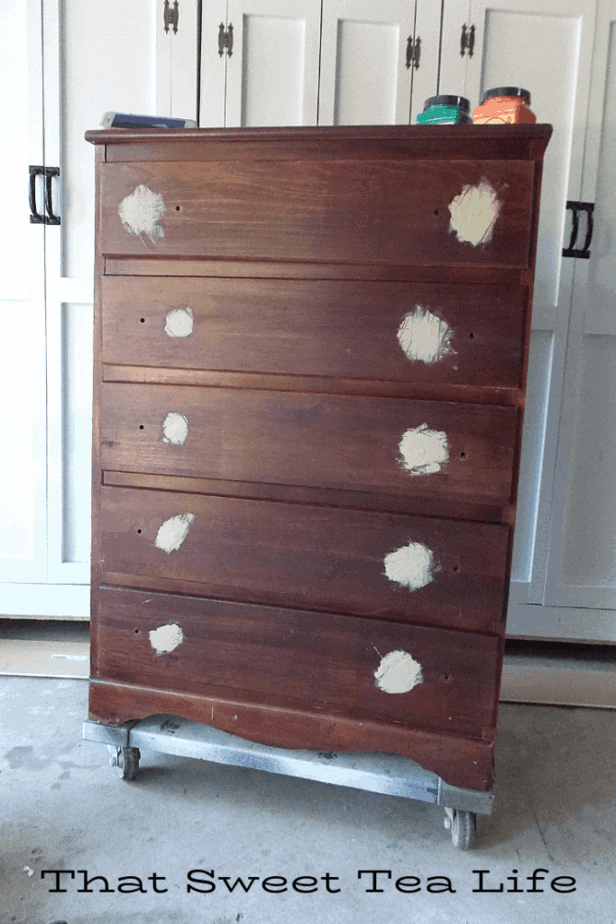 Coral Painted Dresser Makeover | using Dixie Belle mud to fill hardware holes