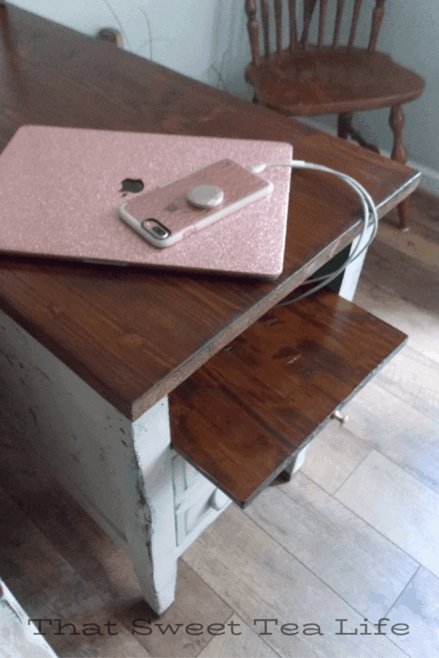 charging station on repurposed furniture
