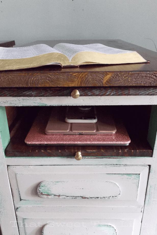 storage in repurposed furniture