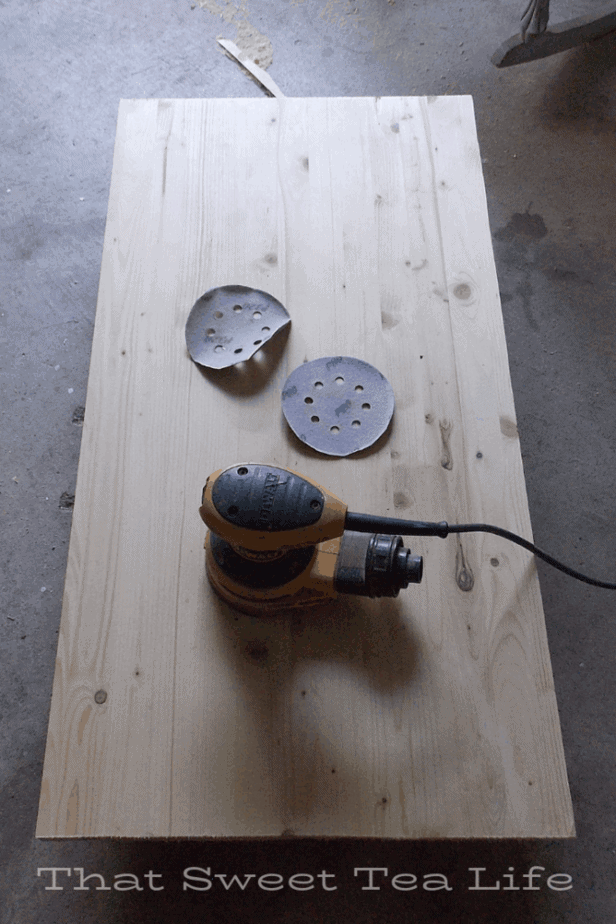 sanding new tops for old desk ends