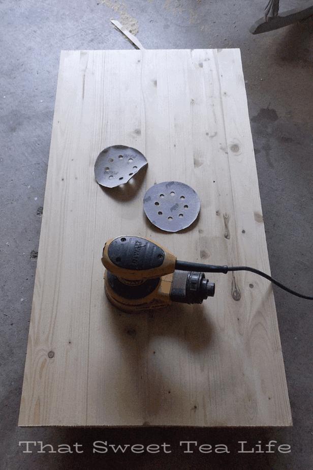 sanding new tops for old desk ends