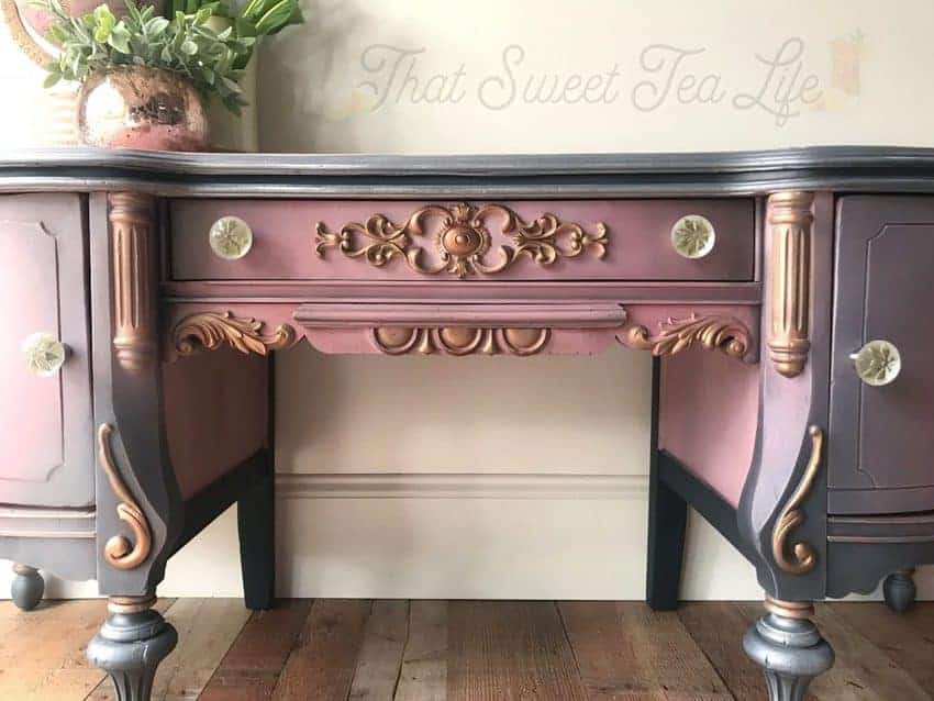 purple painted vanity with appliques