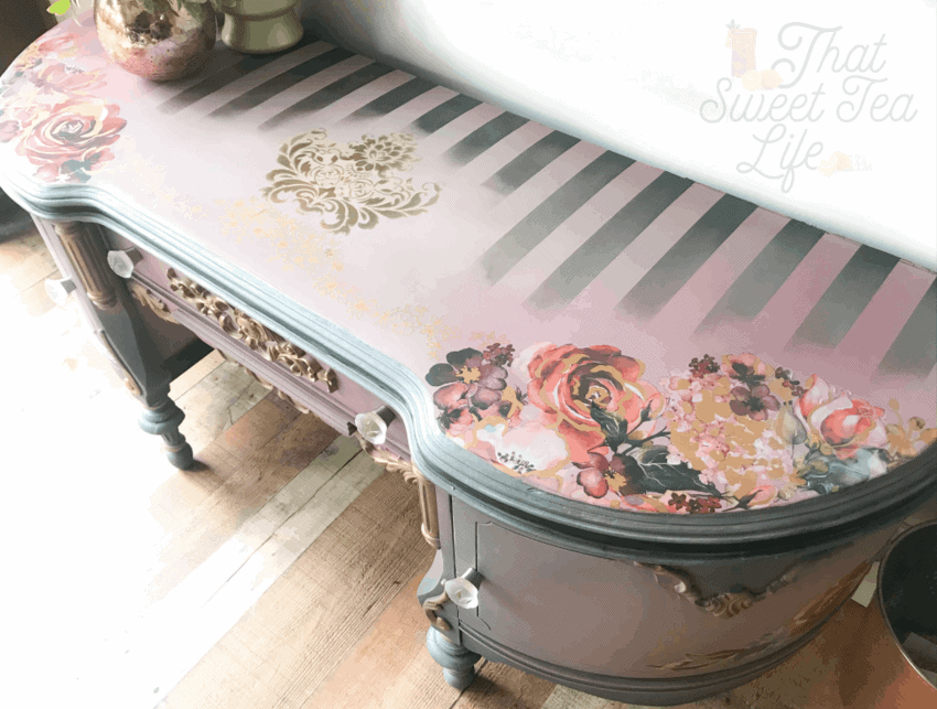 Painted furniture embellished with stenciling