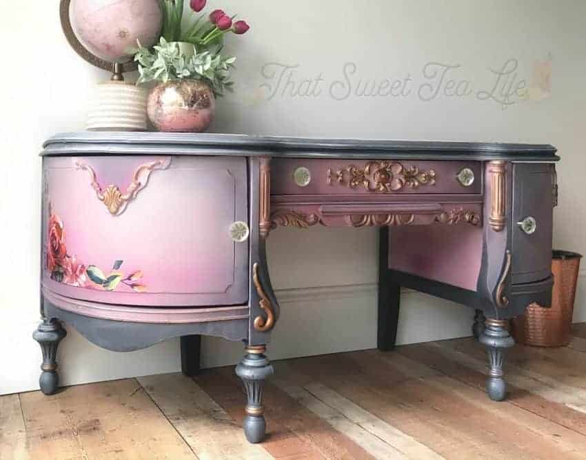 purple painted antique vanity