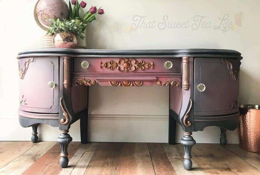 purple painted ornate vanity