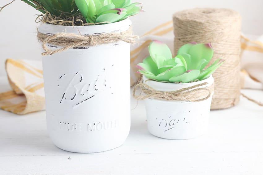 chalk painted mason jar planters