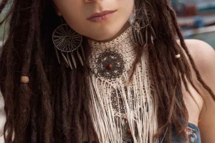 Woman Wearing Macrame Necklace