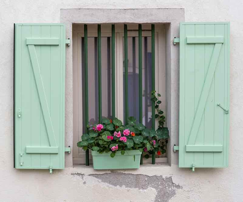 Seafoam Green Window Shutters