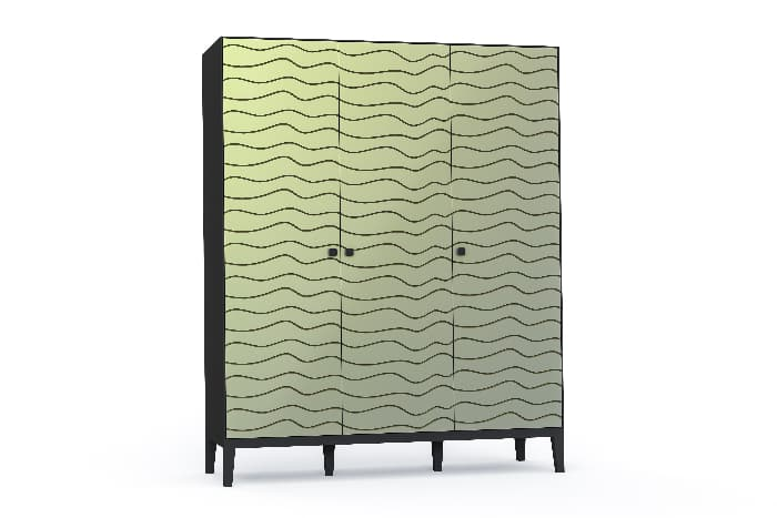 A 3D rendered illustration of a wardrobe painted light sage green with thin black wavy lines running horizontally across the front of the piece.