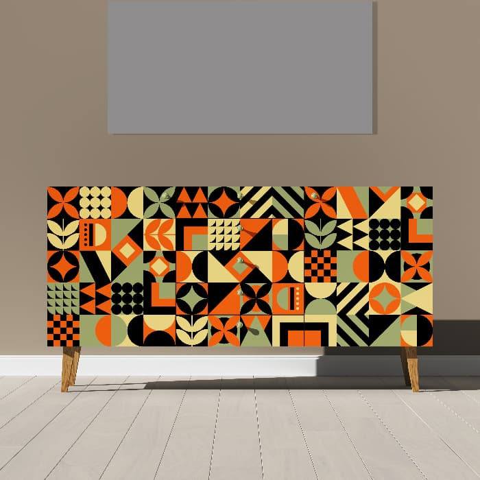 A rendered illustration of a painted dresser with squares of pop art designs in orange, brown, tan, and sage green colors.