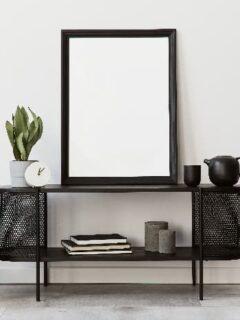 Black furniture decor for living room or office.