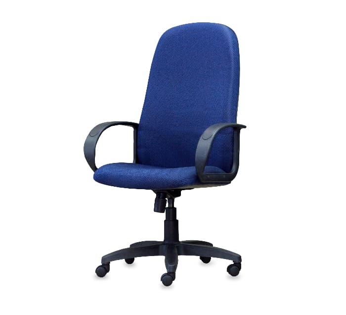 An office chair in blue fabric.