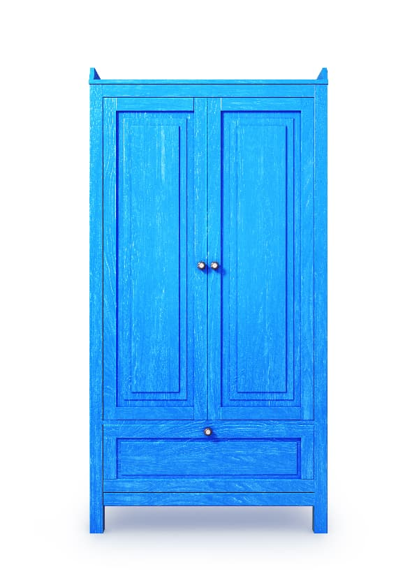 A rendering of a classic armoire in a bright blue color -- a fun example of blue furniture for home decor.