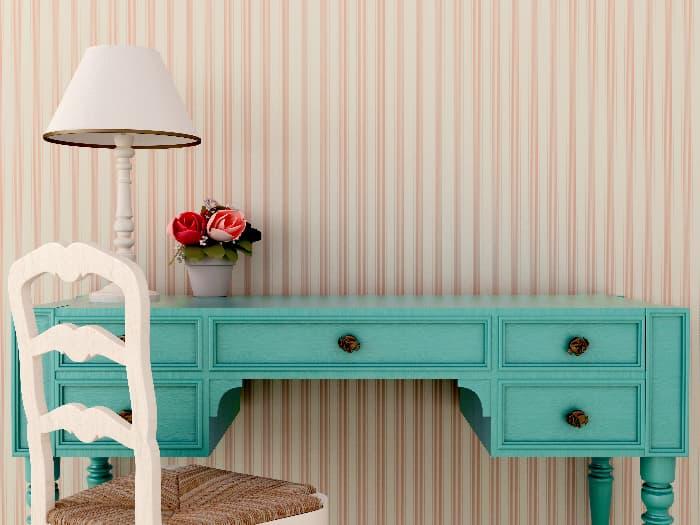 Brightly Repainted farmhouse desk.
