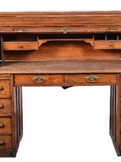 Classic Oak Roll Top Farmhouse Desk